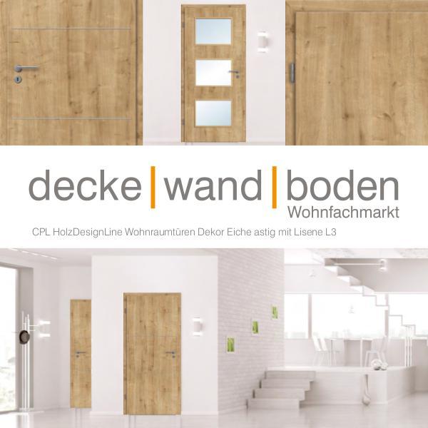 dwb Wohnraumtüren CPL Holz Design Line mit Lisenen L3 Eiche astig dwb Wohnraumtüren CPL Holz Design Line mit Lisene