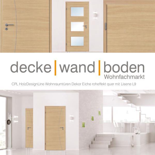 dwb Wohnraumtüren CPL Holz Design Line mit Lisenen L9 Eiche roheffekt quer dwb Wohnraumtüren CPL Holz Design Line mit Lisene