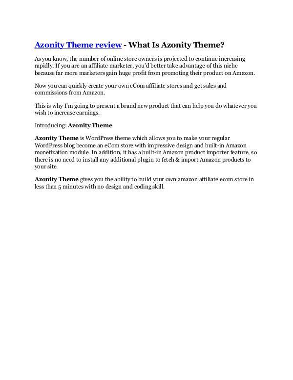 Marketing Azonity Theme review-$32,400 bonus & discount
