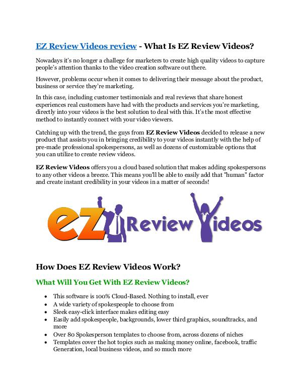 EZ Review Videos review & bonuses - cool weapon