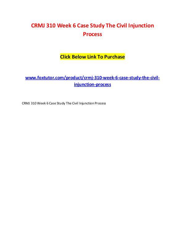 CRMJ 310 Week 6 Case Study The Civil Injunction Process CRMJ 310 Week 6 Case Study The Civil Injunction Pr