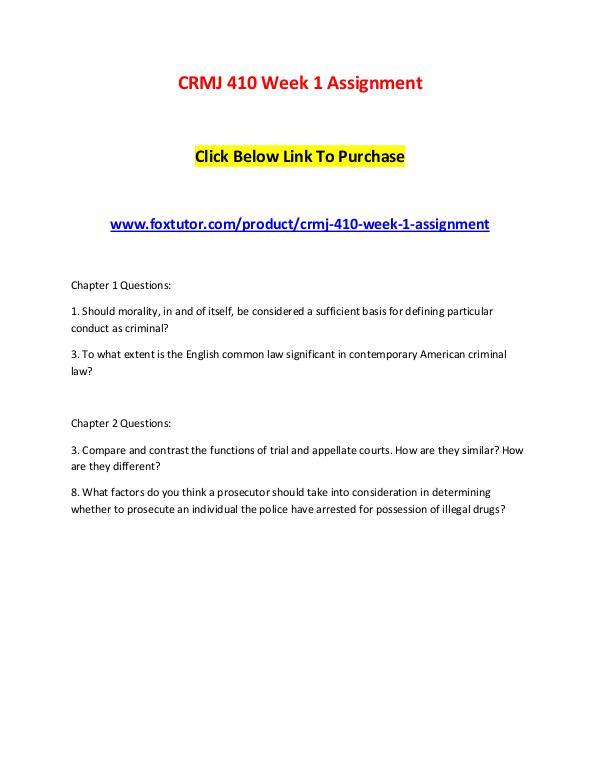 CRMJ 410 All Assignments CRMJ 410 All Assignments