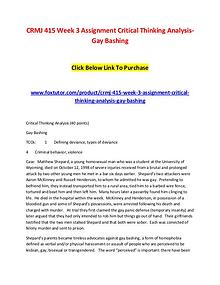 CRMJ 415 Week 3 Assignment Critical Thinking Analysis-Gay Bashing