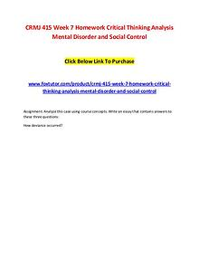 CRMJ 415 Week 7 Homework Critical Thinking Analysis Mental Disorder a