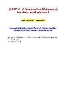 CRMJ 415 Week 7 Homework Critical Thinking Analysis Mental Disorder a