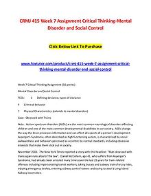 CRMJ 415 Week 7 Assignment Critical Thinking-Mental Disorder and Soci