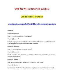 CRMJ 420 Week 2 Homework Questions