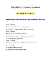 CRMJ 420 Week 5 Homework Assignment