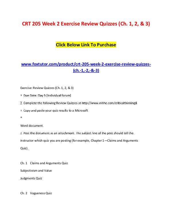 CRT 205 Week 2 Exercise Review Quizzes (Ch. 1, 2, & 3) CRT 205 Week 2 Exercise Review Quizzes (Ch. 1, 2,