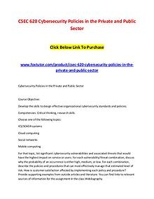 CSEC 620 Cybersecurity Policies in the Private and Public Sector