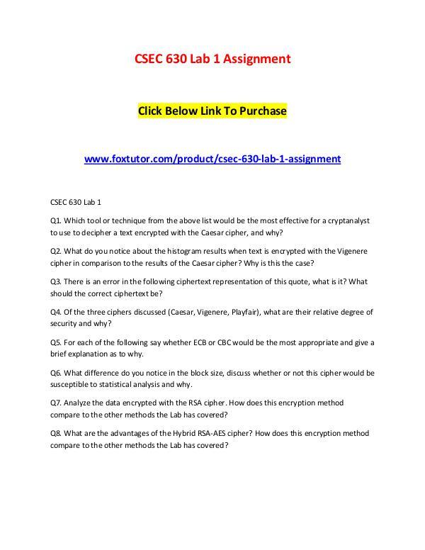 CSEC 630 Lab 1 Assignment CSEC 630 Lab 1 Assignment