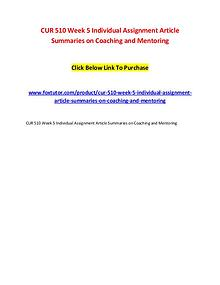 CUR 510 Week 5 Individual Assignment Article Summaries on Coaching an