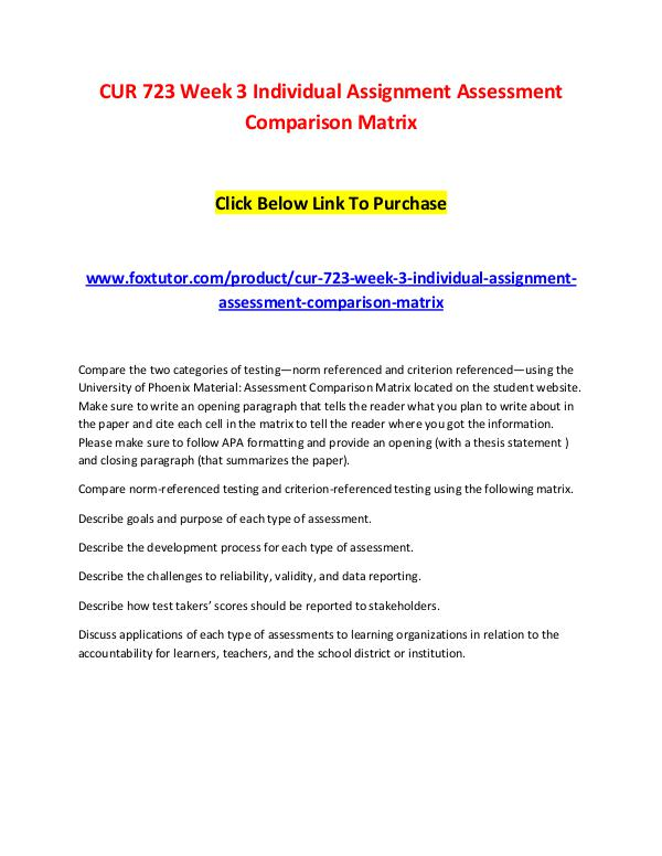 CUR 723 Week 3 Individual Assignment Assessment Comparison Matrix CUR 723 Week 3 Individual Assignment Assessment Co