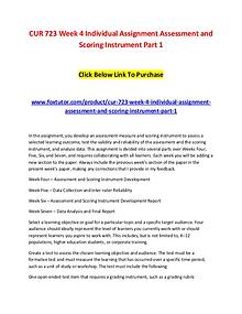 CUR 723 Week 4 Individual Assignment Assessment and Scoring Instrumen