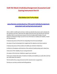 CUR 723 Week 6 Individual Assignment Assessment and Scoring Instrumen