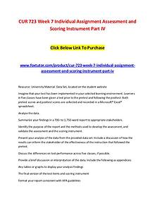 CUR 723 Week 7 Individual Assignment Assessment and Scoring Instrumen