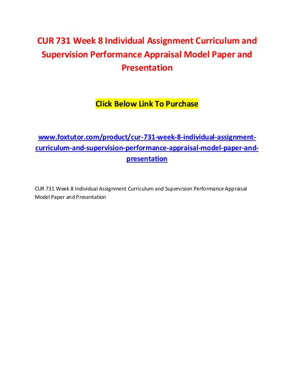 CUR 731 Week 8 Individual Assignment Curriculum and Supervision Perfo CUR 731 Week 8 Individual Assignment Curriculum an