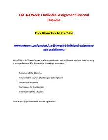 CJA 324 Week 1 Individual Assignment Personal Dilemma