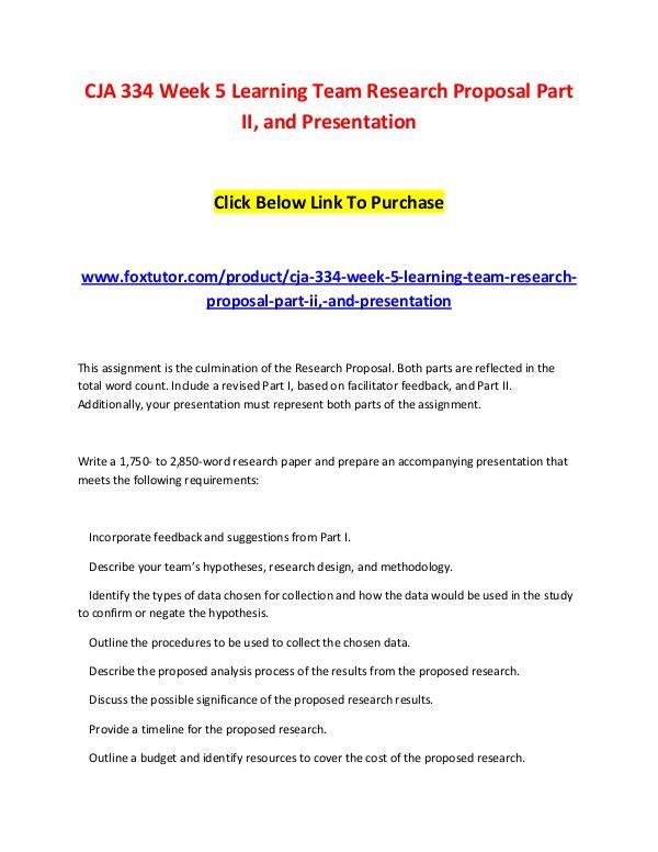 cja 334 research proposal part ii