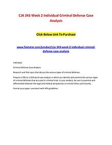 CJA 343 Week 2 Individual Criminal Defense Case Analysis