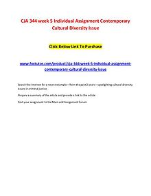 CJA 344 week 5 Individual Assignment Contemporary Cultural Diversity
