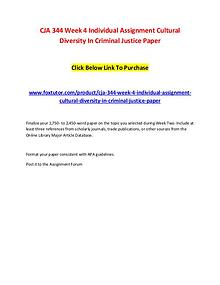 CJA 344 Week 4 Individual Assignment Cultural Diversity In Criminal J