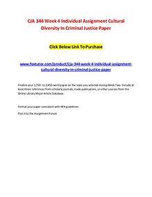 CJA 344 Week 4 Individual Assignment Cultural Diversity In Criminal J