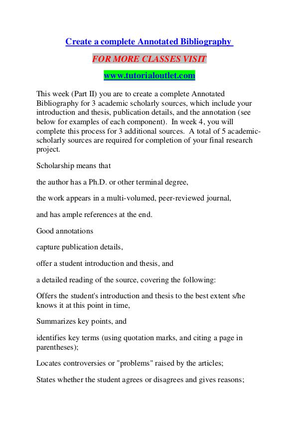 CREATE A COMPLETE ANNOTATED BIBLIOGRAPHY / TUTORIALOUTLET DOT COM CREATE A COMPLETE ANNOTATED BIBLIOGRAPHY / TUTORIA