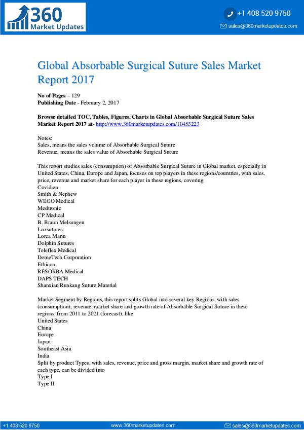 Research Reports Absorbable Surgical Suture Sales Market 2017