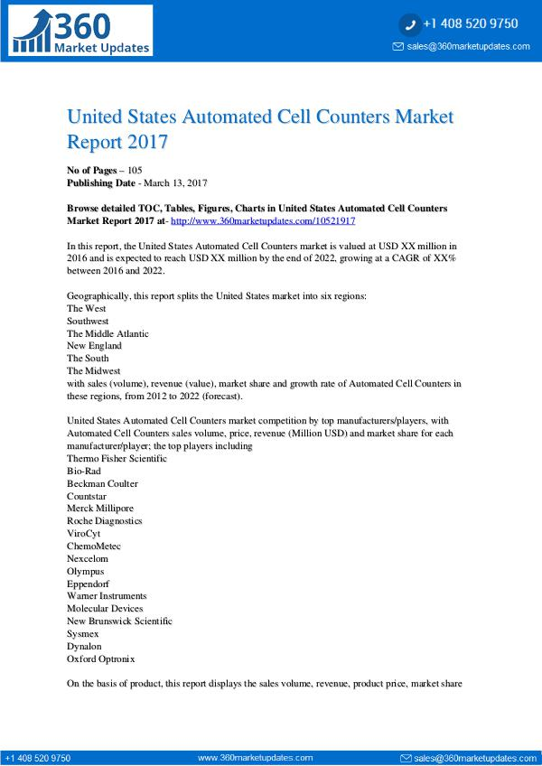 Research Reports Automated Cell Counters Market Report 2017