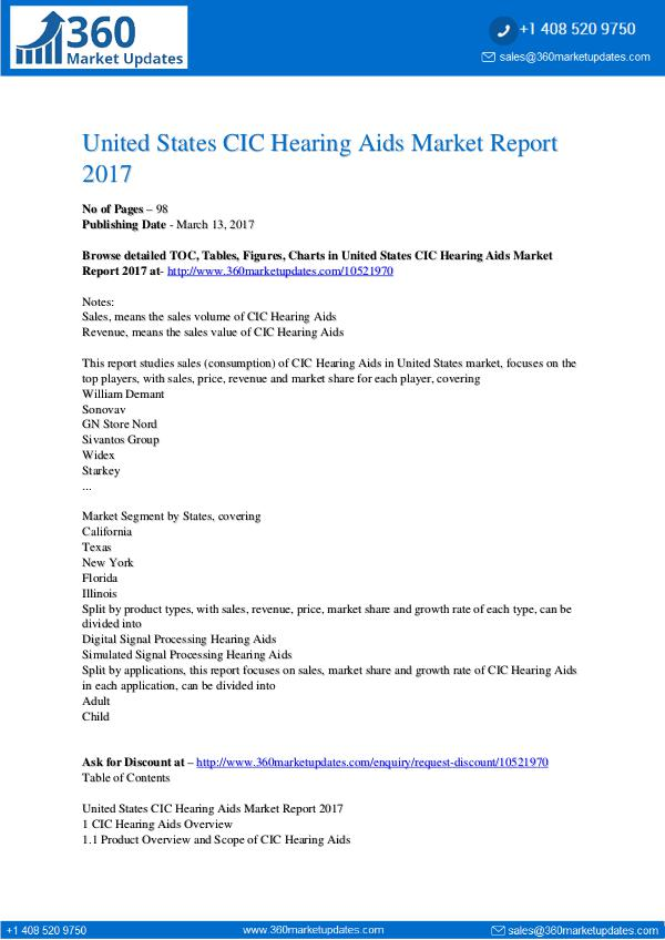 Research Reports CIC Hearing Aids Market Report 2017