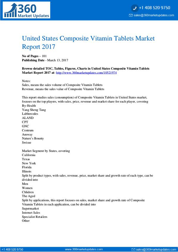 Research Reports Composite Vitamin Tablets Market Report 2017