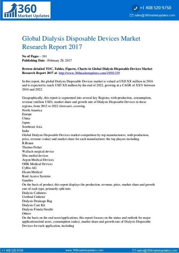 Dialysis Disposable Devices Market Research Report