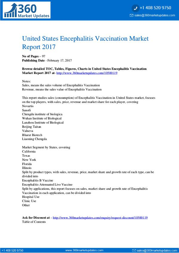 Research Reports Encephalitis Vaccination Market Report 2017
