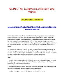 CJA 345 Module 1 Assignment 3 Juvenile Boot Camp Programs