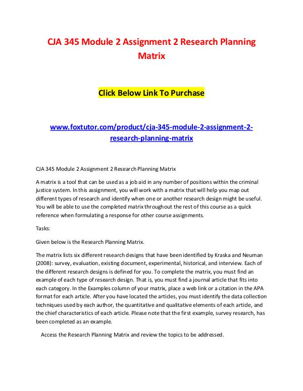 CJA 345 Module 2 Assignment 2 Research Planning Matrix CJA 345 Module 2 Assignment 2 Research Planning Ma