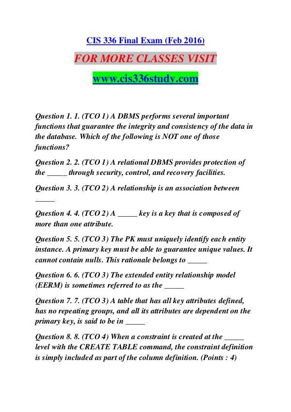 CIS 336 STUDY Extraordinary Success /cis336study.com CIS 336 STUDY Extraordinary Success /cis336study.c