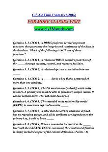 CIS 336 STUDY Extraordinary Success /cis336study.com