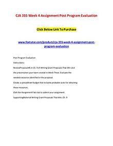 CJA 355 Week 4 Assignment Post Program Evaluation