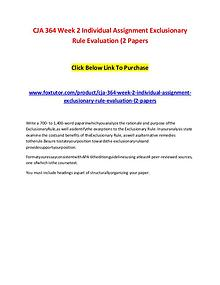 CJA 364 Week 2 Individual Assignment Exclusionary Rule Evaluation (2