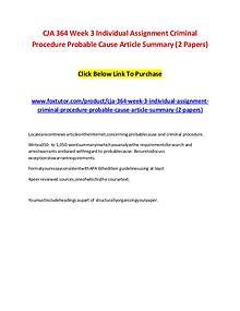 CJA 364 Week 3 Individual Assignment Criminal Procedure Probable Caus