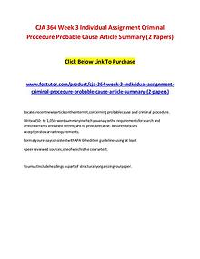 CJA 364 Week 3 Individual Assignment Criminal Procedure Probable Caus