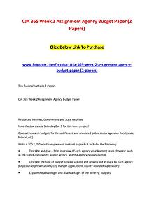 CJA 365 Week 2 Assignment Agency Budget Paper (2 Papers)