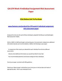 CJA 374 Week 4 Individual Assignment Risk Assessment Paper