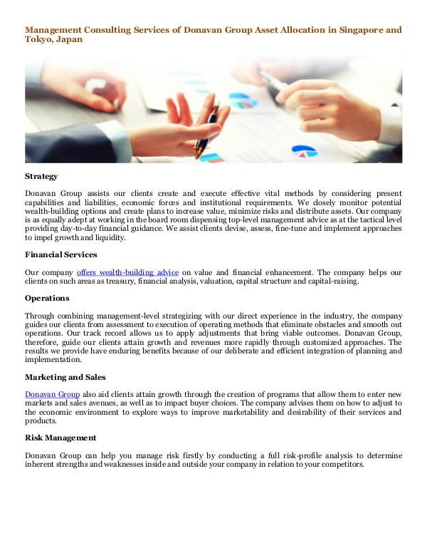 Donavan Group Consulting in Singapore and Tokyo, Japan Management Consulting Services of Donavan Group