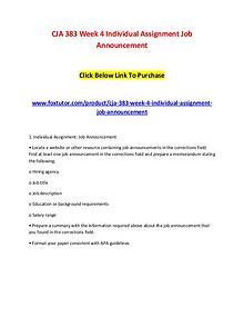 CJA 383 Week 4 Individual Assignment Job Announcement