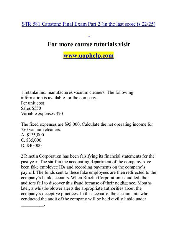 STR 581 help A Guide to career/uophelp.com STR 581 help A Guide to career/uophelp.com