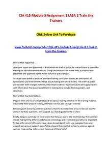 CJA 415 Module 5 Assignment 1 LASA 2 Train the Trainers