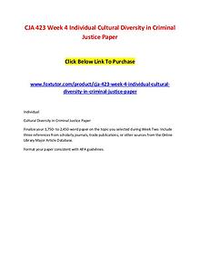 CJA 423 Week 4 Individual Cultural Diversity in Criminal Justice Pape