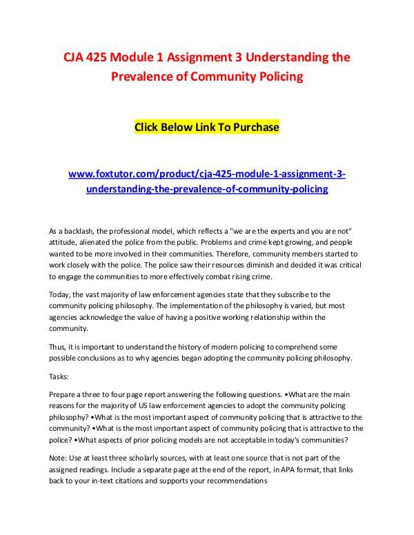 CJA 425 Module 1 Assignment 3 Understanding the Prevalence of Communi CJA 425 Module 1 Assignment 3 Understanding the Pr